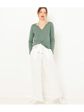 Zelený ľanový ľahký sveter CAMAIEU