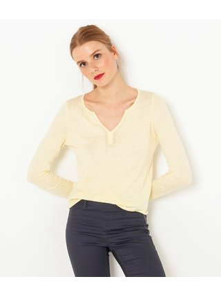 Žlutý lněný lehký svetr CAMAIEU