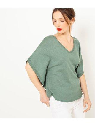 Zelené ľanové tričko s netopierimi rukávmi CAMAIEU