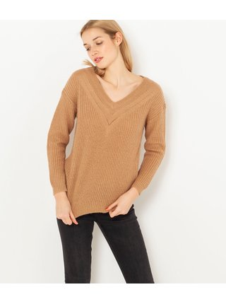 Hnědý svetr s příměsí vlny CAMAIEU
