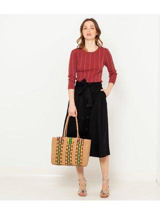 Čierna ľanová pruhovaná midi sukňa CAMAIEU