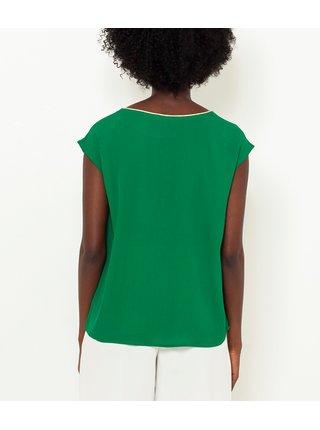 Zelená blúzka s ozdobnými detailymi CAMAIEU