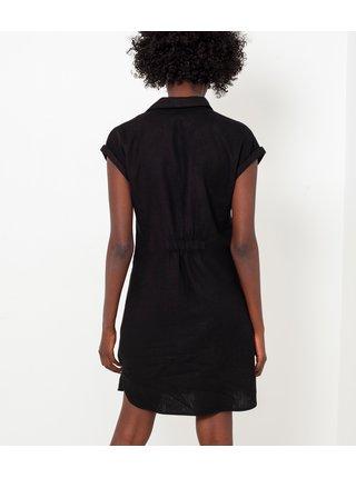 Černé lněné košilové šaty CAMAIEU