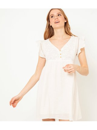 Krémové šaty s volány CAMAIEU