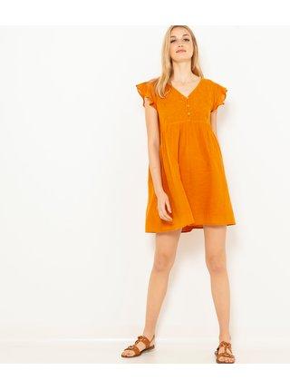 Oranžové šaty s volánmi CAMAIEU