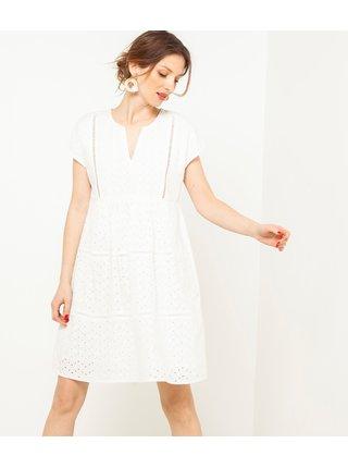 Biele vzorované šaty CAMAIEU