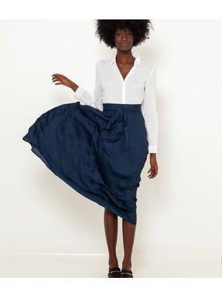 Tmavě modrá midi sukně CAMAIEU