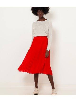 Červená rebrovaná midi sukňa CAMAIEU