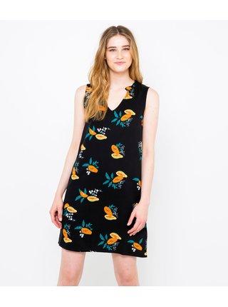 Černé šaty s tropickým motivem CAMAIEU