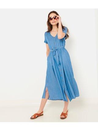 Modré košeľové midi šaty CAMAIEU