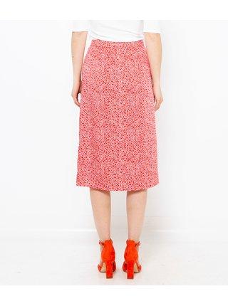 Červená vzorovaná midi sukně CAMAIEU