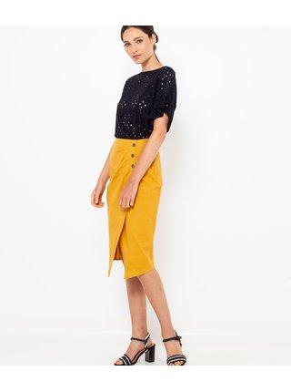 Hořčicová lněná zavinovací sukně CAMAIEU