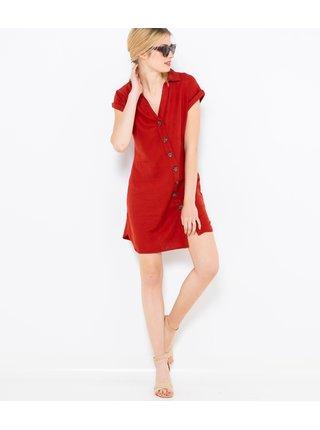 Červené ľanové košeľové šaty CAMAIEU