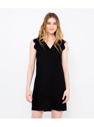 Čierne ľanové šaty s ozdobnými lemami CAMAIEU