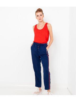 Tmavě modré džínové straight fit kalhoty se zavazováním CAMAIEU