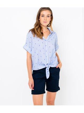 Modrá vzorovaná košeľa so zaväzovaním CAMAIEU