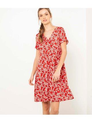 Červené květované šaty CAMAIEU