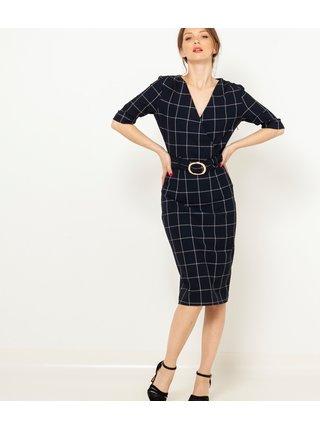 Čierne kockované púzdrové šaty CAMAIEU