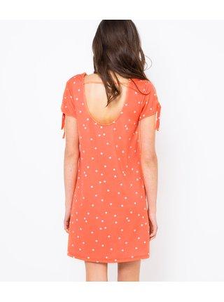 Koralové bodkované šaty CAMAIEU