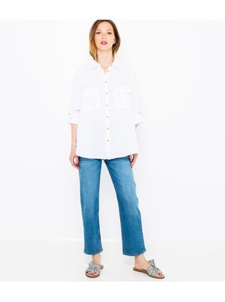 Biela voľná ľanová košeľa CAMAIEU
