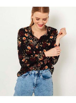 Černá květovaná košile CAMAIEU