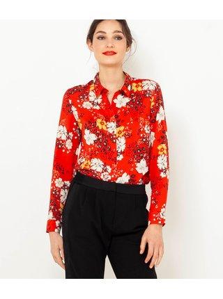 Červená květovaná košile CAMAIEU