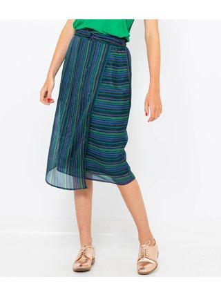 Zeleno-modrá pruhovaná zavinovací sukně CAMAIEU