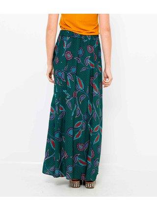 Petrolejová květovaná maxi sukně CAMAIEU
