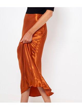 Hnedá saténová maxi sukňa CAMAIEU