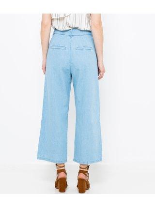 Světle modré široké zkrácené džíny CAMAIEU