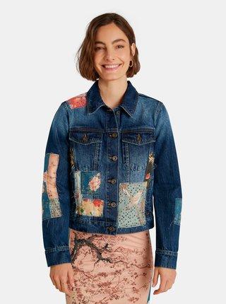 Modrá dámská vzorovaná džínová bunda Desigual Japo Patch