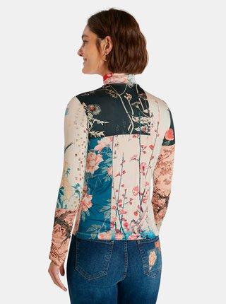 Modro-béžové vzorované dámske tričko Desigual Kyoto