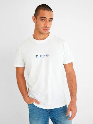 Bílé pánské tričko Desigual Surf Collage
