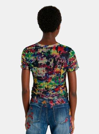 Šedo-zelené vzorované dámske tričko Desigual Eloisse
