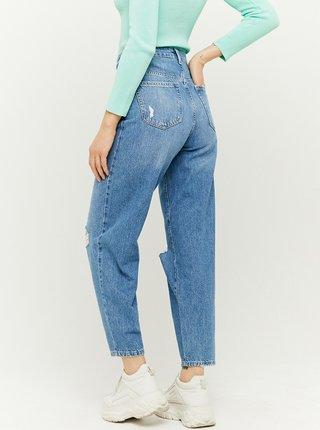 Modré zkrácené straight fit džíny s potrhaným efektem TALLY WEiJL