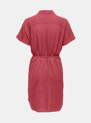 Ružové košeľové šaty so zaväzovaním ONLY Nova