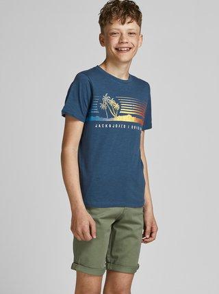 Modré klučičí tričko s potiskem Jack & Jones Laguna