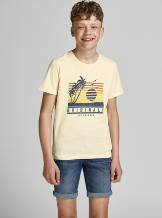 Krémové chlapčenské tričko s potlačou Jack & Jones Laguna