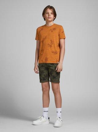 Oranžové klučičí vzorované tričko Jack & Jones Cali