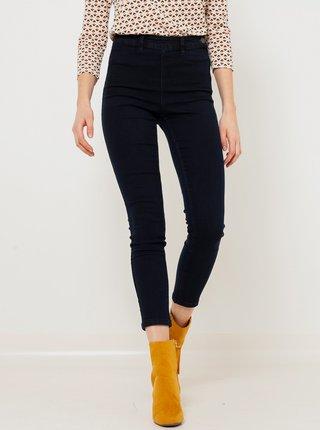 Tmavě modré zkrácené skinny fit džíny s vysokým pasem CAMAIEU