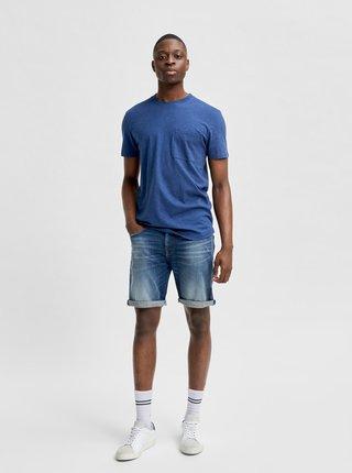 Modré tričko s vreckom Selected Homme Chuck