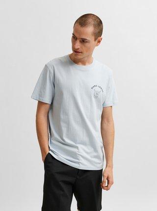 Svetlomodré tričko s potlačou Selected Homme Carter