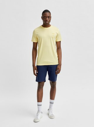 Světle žluté tričko s potiskem Selected Homme Carter