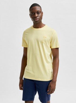 Svetložlté tričko s potlačou Selected Homme Carter