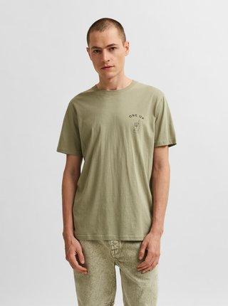 Světle zelené tričko s potiskem Selected Homme Carter
