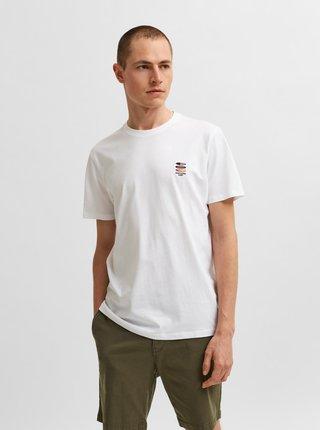 Biele tričko s výšivkou Selected Homme Fate