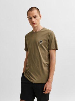 Khaki tričko s výšivkou Selected Homme Fate