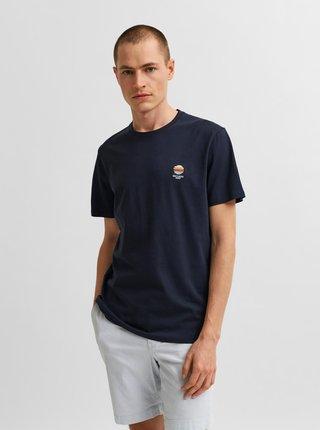 Tmavě modré tričko s výšivkou Selected Homme Fate