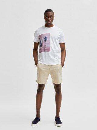 Biele tričko s potlačou Selected Homme Pent