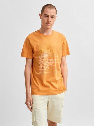 Oranžové tričko s potiskem Selected Homme Collin